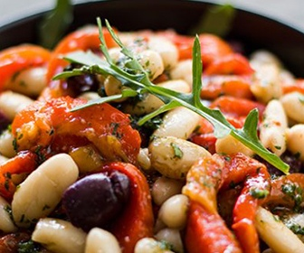 roasted bell pepper and bean salad